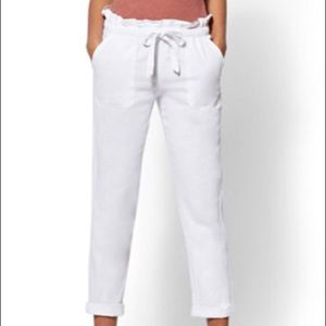New York & Co White Linen Paperbag Waist Pant